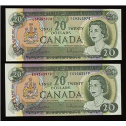 1969 Bank of Canada $20 - Lot of 2 Consecutive Notes