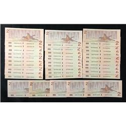 Bank of Canada $2, 1986 - Lot of 35 Notes