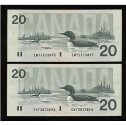 1991 Bank of Canada $20 - Lot of 2 Consecutive Notes