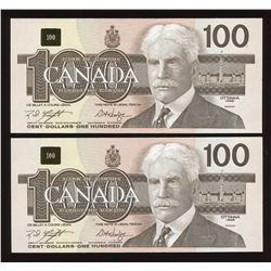 1988 Bank of Canada $100 - Lot of 2 Consecutive Notes