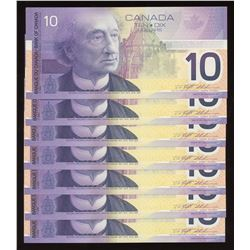 2001 Bank of Canada $10 - Lot of 7 Consecutive Notes