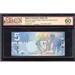 Bank of Canada $5, 2006 Single Note Replacement.
