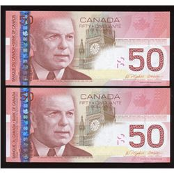 2004 Bank of Canada $50 - Lot of 2 Banknotes