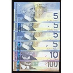 Bank of Canada Journey Series - Lot of 6 Banknotes