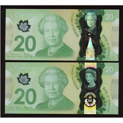 Bank of Canada $20 Polymer Type Set of 2 Notes