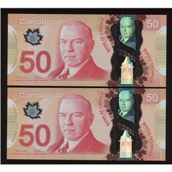 2000 Bank of Canada $50 - Lot of 2 Consecutive Notes