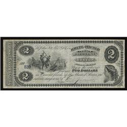 New Brunswick Scrip, Jewett and Pitcher $2, 1875