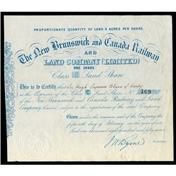 New Brunswick and Canada Railway Land Company One Share Certificate, 1857