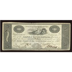 Bank of Upper Canada $3, 1820