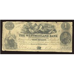 Westmorland Bank of New Brunswick $4, 1854