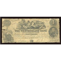 Westmorland Bank of New Brunswick $4, 1853