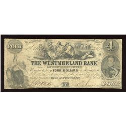 Westmorland Bank of New Brunswick $4, 1856