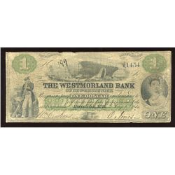 Westmorland Bank of New Brunswick $1, 1861