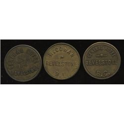Br. 936, 937, 938.  Lot of three Revelstoke, B.C., tokens.