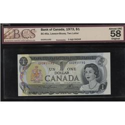Bank of Canada $1, 1973 Radar