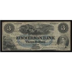 Zimmerman Bank $3, 1856
