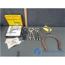 Automatic Implant Gun, (3) Spring Nose Bug and (2) Horse Shoes