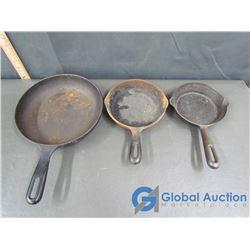 (3) Cast Iron Pans