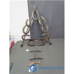 Blacksmith Made Horse Shoe Triangle, Clinch Cutter, and Straight Bit