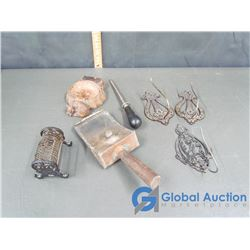 Metal Crowned Royal Letter Holder and Various Metal Items
