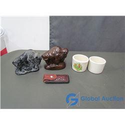 (2) Buffalo Statues, (2) Horse Relates Stoneware Cups and a Leather Sheath