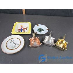 (3) Spur and (3) Various Ashtrays