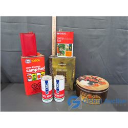 (2) OMC 2-Cycle  Motor Oil Cans (Full), Red Rose Tea Tin, etc.