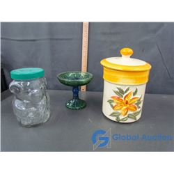 Kraft Peanut Butter Jar (bank), Decorative Glass and Kitchen Canister (with lid)
