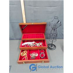 Jewelry Box and Stand With Jewelry