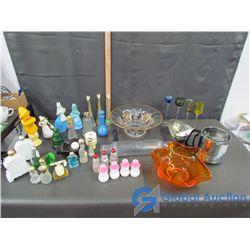 Avon Perfume, Coloured Glass Bowls, etc