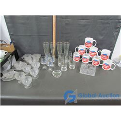RCMP Glass, Dubble Bubble Cups, and Various Glassware