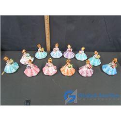 (12) Assorted Josef Originals Birthstone Girl Figurines