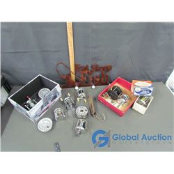 Variety of Fishing Reels, Scale and Wall Decor