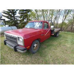 1993 Dodge 350 Reg. Cab Dually Truck W/ 10 ft. Steel Flatdeck