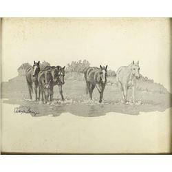 Vintage Western Art Print by Wayne Baize