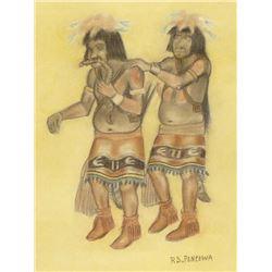 Original Hopi Pastel Picture by R.S. Pentewa