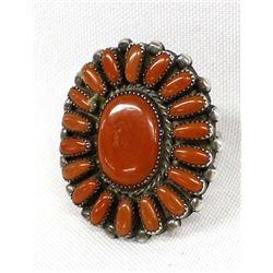 Native American Zuni Coral Cluster Ring, Sz 9.5