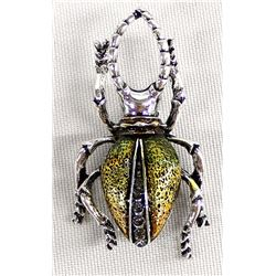 Bling Bling Stag Beetle Pin