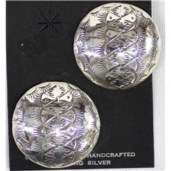 Large Navajo Sterling Silver Concho Earrings