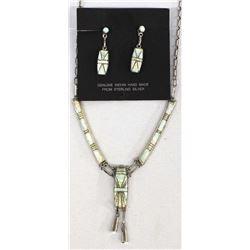 Zuni Sterling & Opal Inlay Necklace & Earrings