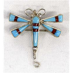 Zuni Silver Turquoise Coral Dragonfly Pin Pendant