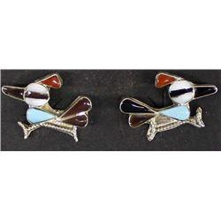 Zuni Sterling Inlay Roadrunner Earrings
