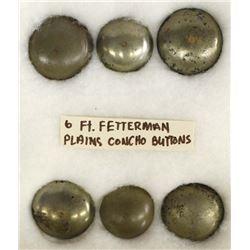 6 Fort Fetterman Plains Indian Concho Buttons