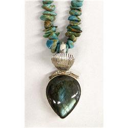 Vintage Navajo Silver Turquoise Nugget Necklace