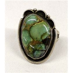 Vintage Navajo Sterling Turquoise Ring, Size 12