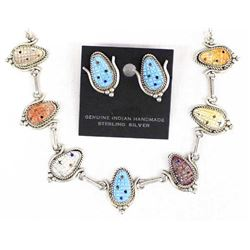 Zuni Sterling Multi-Stone Necklace & Earrings Set