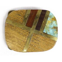 Brass Inlay Wood and Turquoise Buckle