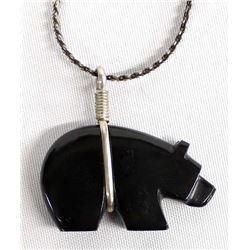 Zuni Onyx Bear Fetish Pendant Necklace