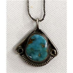 Vintage Navajo Silver Turquoise Pendant Necklace