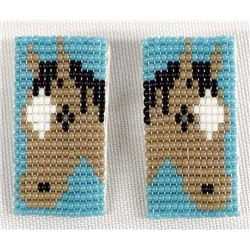 Navajo Hand Beaded Horse Earrings